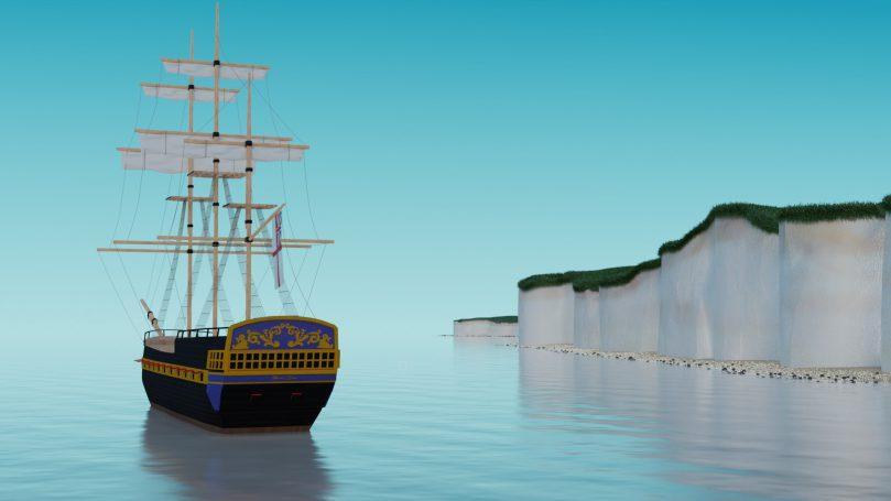 Digital Art – Tall ship and coastline